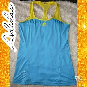 💋Adidas Small climacool tank top yellow blue race